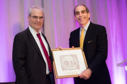 Receiving the award on behalf of the Helmsley Trust, Sandor Frankel with AFORAM President Adam Emmerich